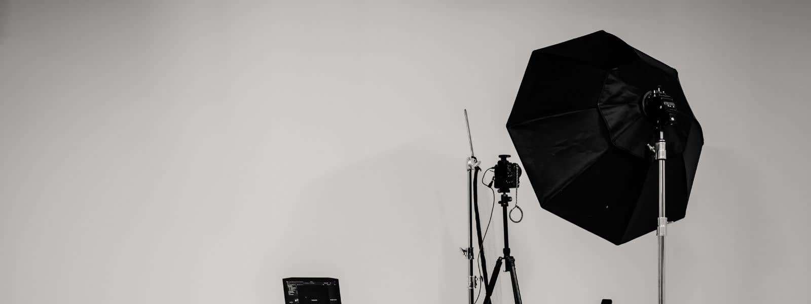 Softboxes in a photo studio